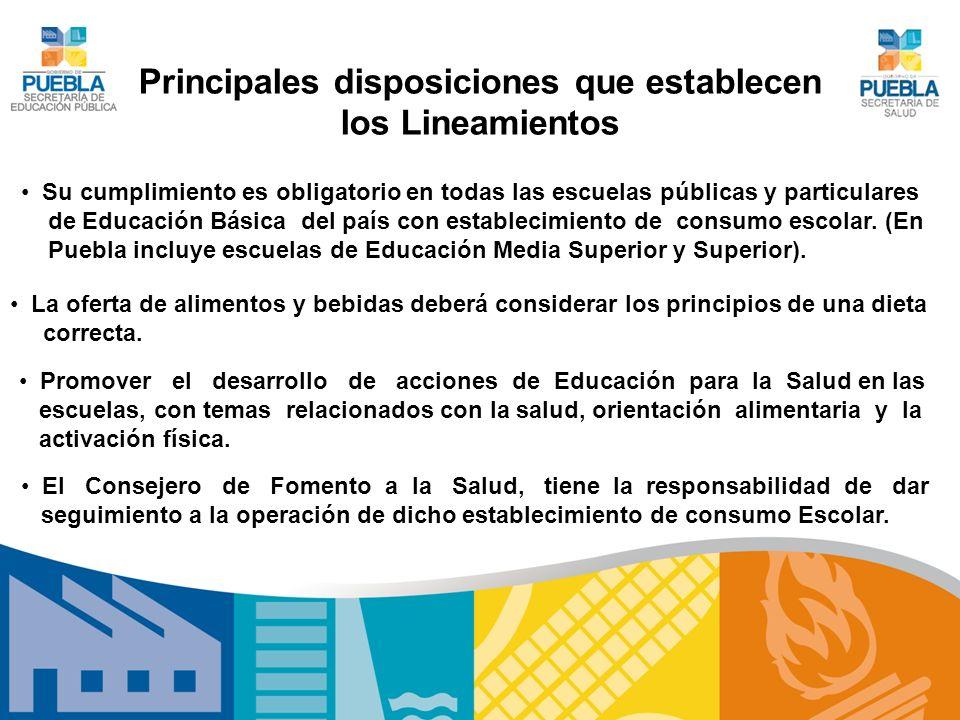 Principales disposiciones que establecen los Lineamientos Su cumplimiento es obligatorio en todas las escuelas públicas y particulares de Educación Bá
