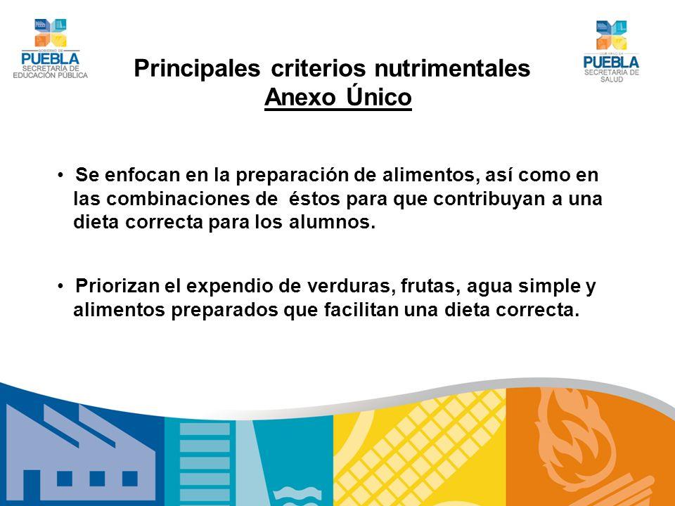 Principales criterios nutrimentales Anexo Único Se enfocan en la preparación de alimentos, así como en las combinaciones de éstos para que contribuyan