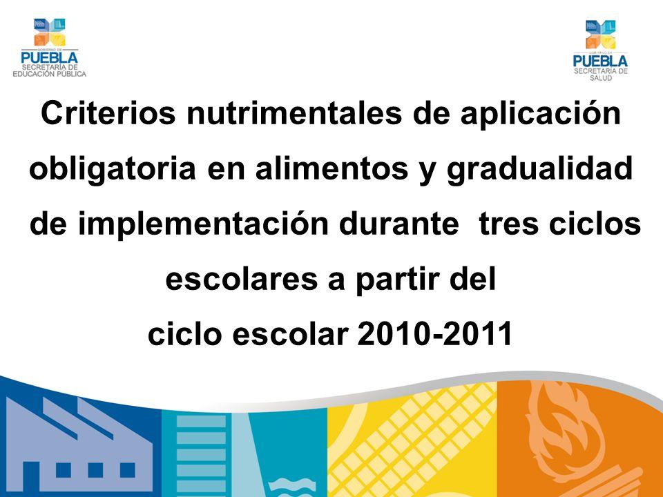Criterios nutrimentales de aplicación obligatoria en alimentos y gradualidad de implementación durante tres ciclos escolares a partir del ciclo escola