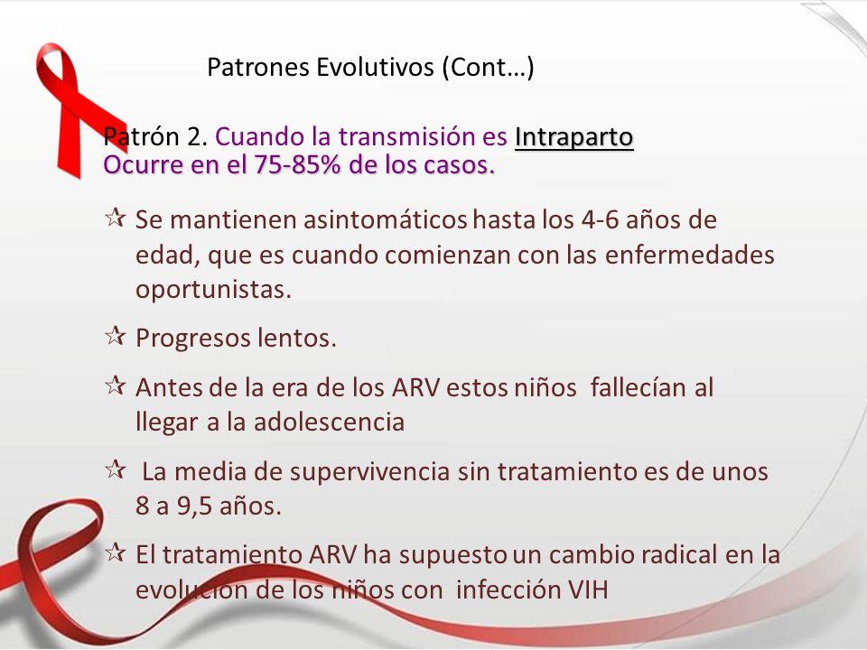 Patrones Evolutivos (Cont…) Intraparto Patrón 2. Cuando la transmisión es Intraparto Ocurre en el 75-85% de los casos. Se mantienen asintomáticos hast