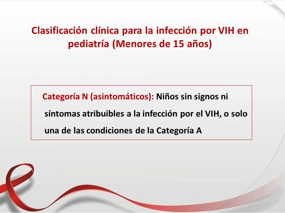 Clasificación clínica para la infección por VIH en pediatría (Menores de 15 años) Categoría N (asintomáticos): Niños sin signos ni síntomas atribuible