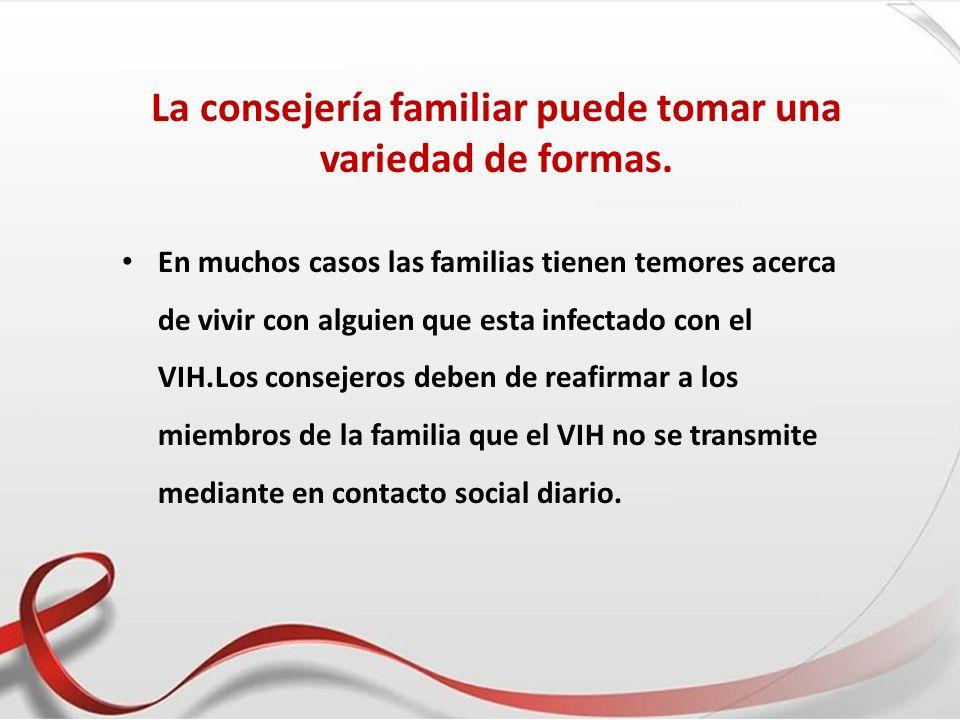 En muchos casos las familias tienen temores acerca de vivir con alguien que esta infectado con el VIH.Los consejeros deben de reafirmar a los miembros
