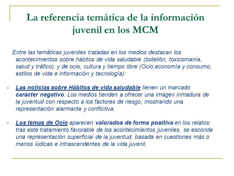 La referencia temática de la información juvenil en los MCM Entre las temáticas juveniles tratadas en los medios destacan los acontecimientos sobre há