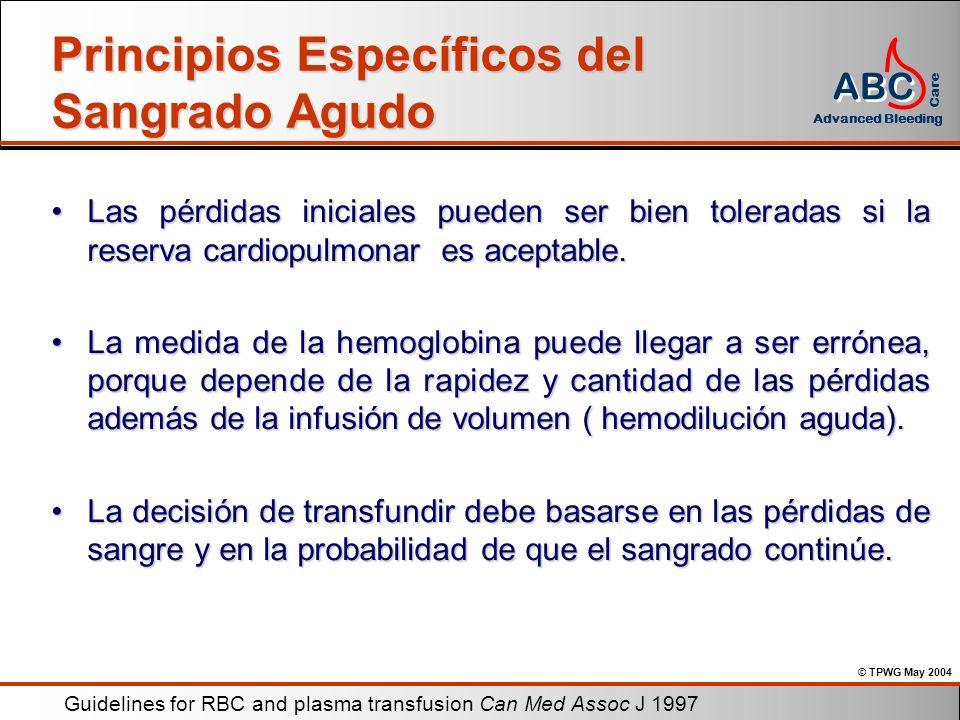 © TPWG May 2004 ABC Advanced Bleeding Care Principios Específicos del Sangrado Agudo Las pérdidas iniciales pueden ser bien toleradas si la reserva ca