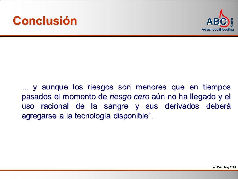 © TPWG May 2004 ABC Advanced Bleeding Care Conclusión... y aunque los riesgos son menores que en tiempos pasados el momento de riesgo cero aún no ha l