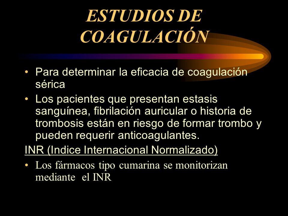 ESTUDIOS DE COAGULACIÓN Para determinar la eficacia de coagulación sérica Los pacientes que presentan estasis sanguínea, fibrilación auricular o histo