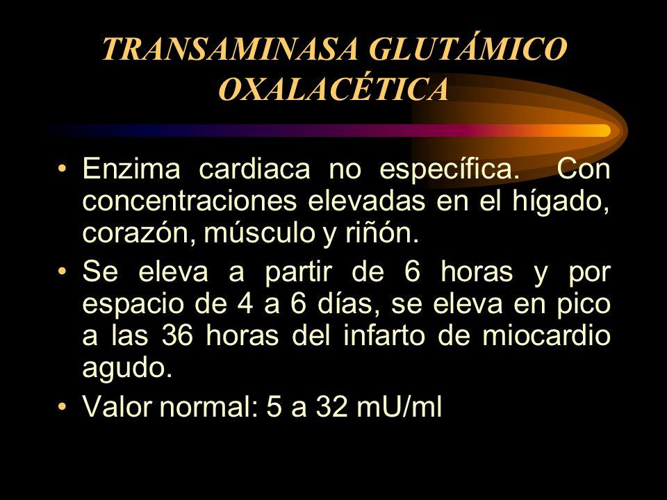 TRANSAMINASA GLUTÁMICO OXALACÉTICA Enzima cardiaca no específica. Con concentraciones elevadas en el hígado, corazón, músculo y riñón. Se eleva a part