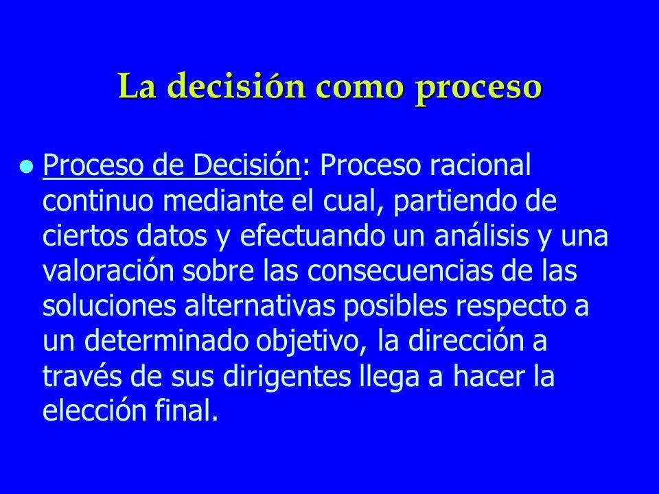 La decisión como proceso Proceso de Decisión: Proceso racional continuo mediante el cual, partiendo de ciertos datos y efectuando un análisis y una va