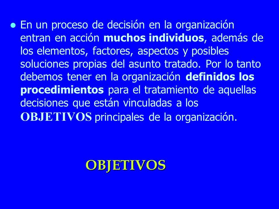 OBJETIVOS En un proceso de decisión en la organización entran en acción muchos individuos, además de los elementos, factores, aspectos y posibles solu
