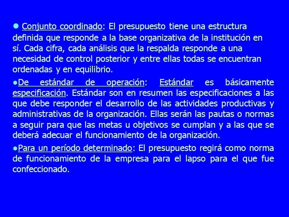 Conjunto coordinado: El presupuesto tiene una estructura definida que responde a la base organizativa de la institución en sí. Cada cifra, cada anális