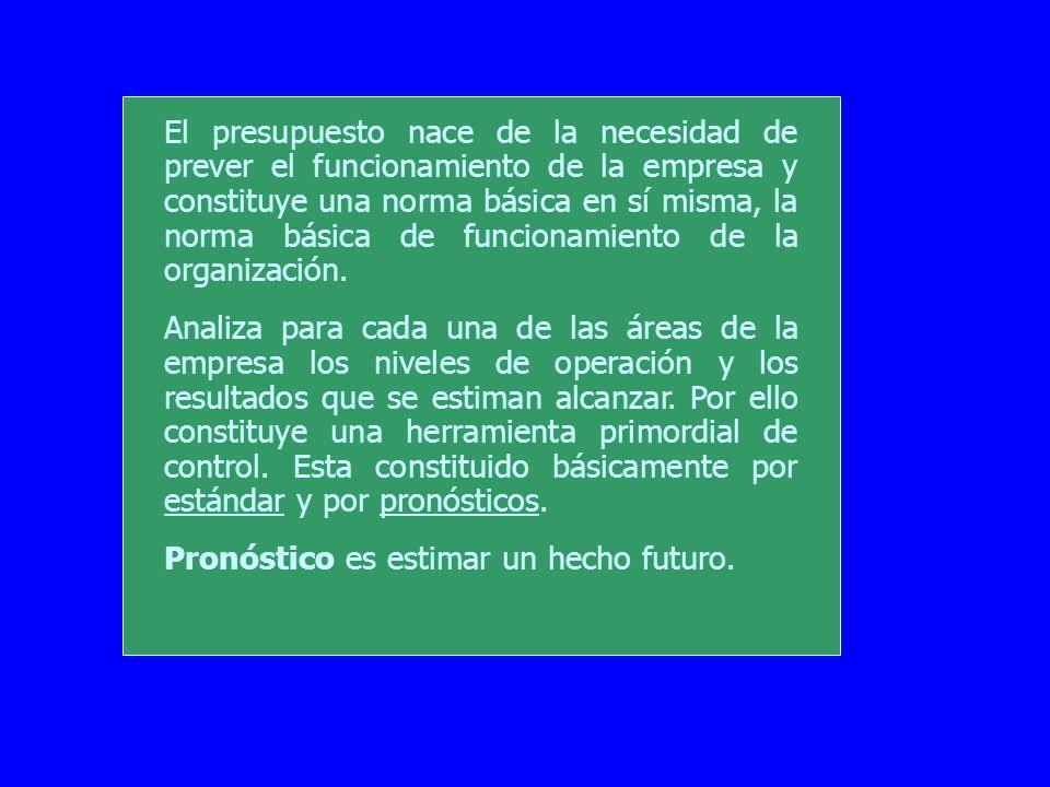 El presupuesto nace de la necesidad de prever el funcionamiento de la empresa y constituye una norma básica en sí misma, la norma básica de funcionami