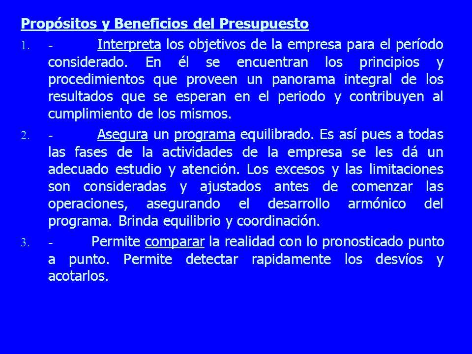 Propósitos y Beneficios del Presupuesto 1. - Interpreta los objetivos de la empresa para el período considerado. En él se encuentran los principios y