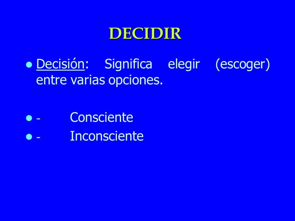 DECIDIR Decisión: Significa elegir (escoger) entre varias opciones. - Consciente - Inconsciente