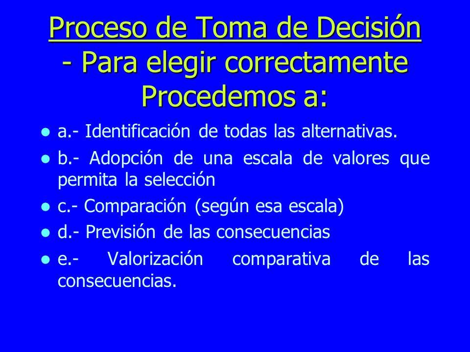 Proceso de Toma de Decisión - Para elegir correctamente Procedemos a: a.- Identificación de todas las alternativas. b.- Adopción de una escala de valo