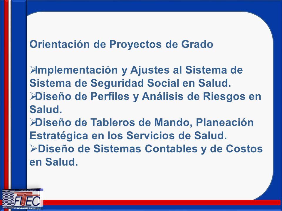 Orientación de Proyectos de Grado Implementación y Ajustes al Sistema de Sistema de Seguridad Social en Salud. Diseño de Perfiles y Análisis de Riesgo