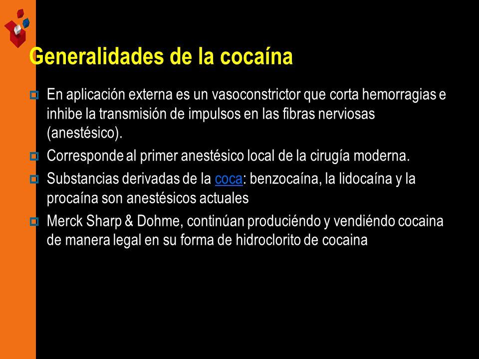 Generalidades de la cocaína En aplicación externa es un vasoconstrictor que corta hemorragias e inhibe la transmisión de impulsos en las fibras nervio