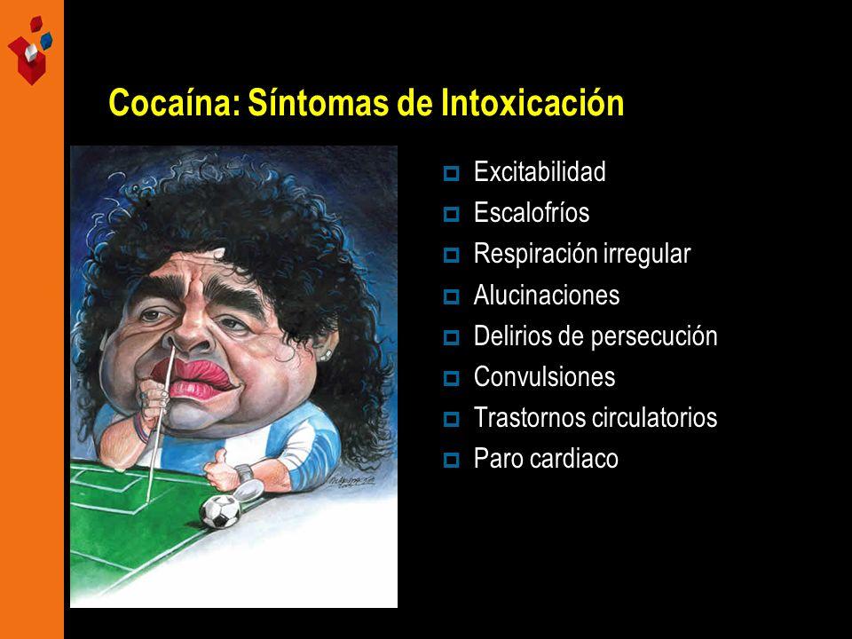 Cocaína: Síntomas de Intoxicación Excitabilidad Escalofríos Respiración irregular Alucinaciones Delirios de persecución Convulsiones Trastornos circul