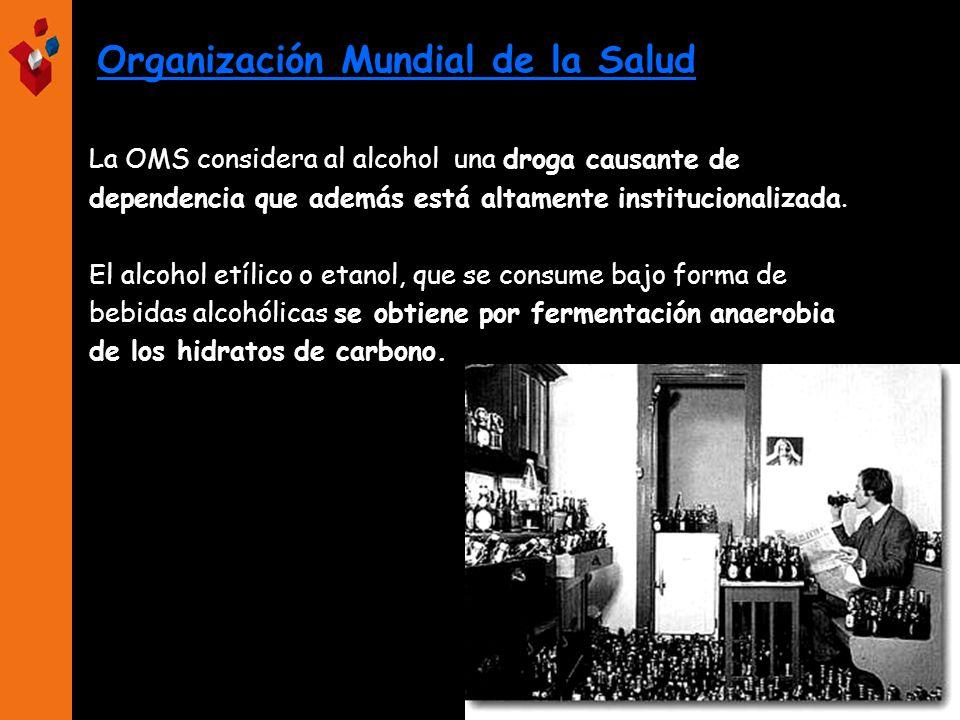 Organización Mundial de la Salud La OMS considera al alcohol una droga causante de dependencia que además está altamente institucionalizada. El alcoho