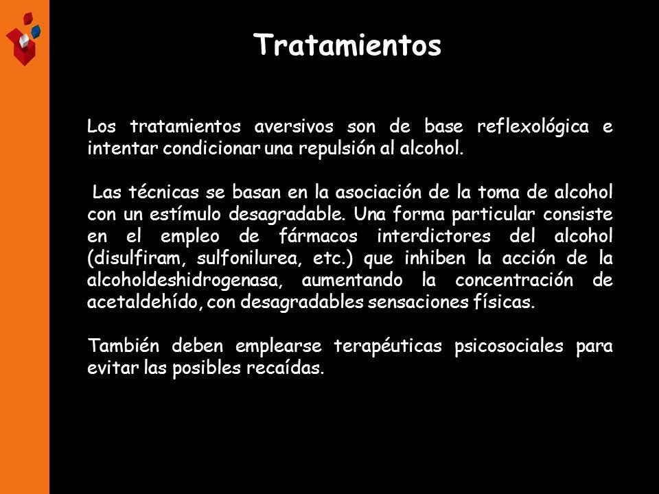 Los tratamientos aversivos son de base reflexológica e intentar condicionar una repulsión al alcohol. Las técnicas se basan en la asociación de la tom