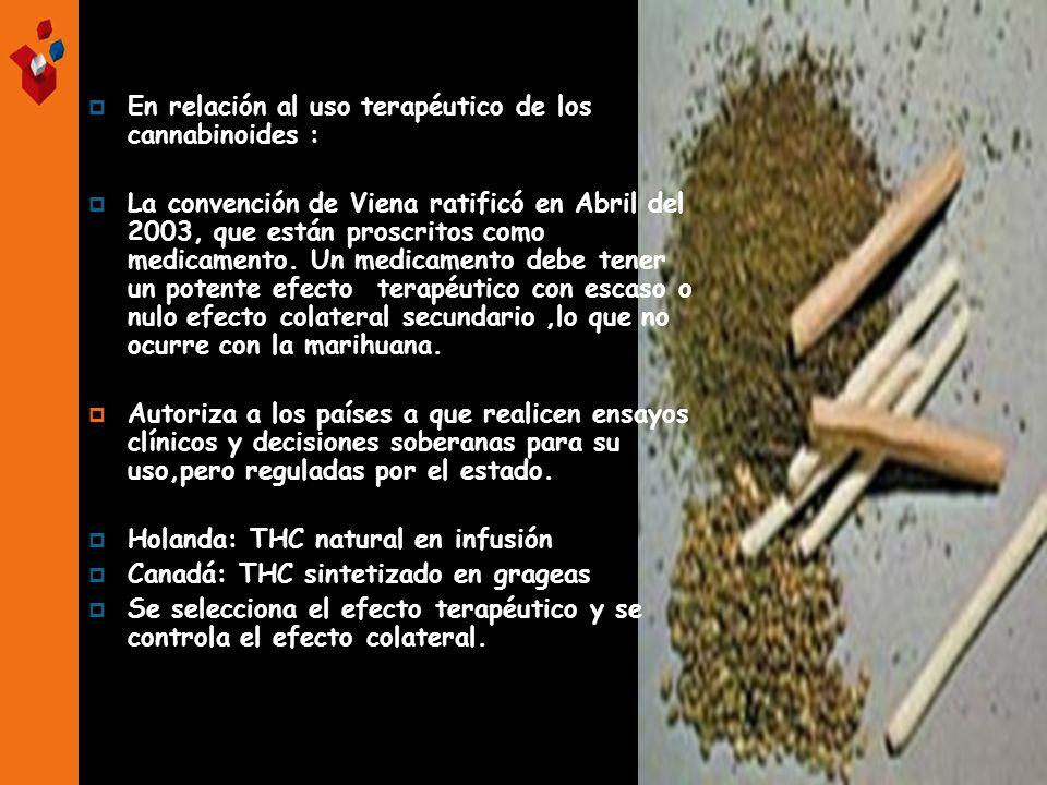 En relación al uso terapéutico de los cannabinoides : La convención de Viena ratificó en Abril del 2003, que están proscritos como medicamento. Un med
