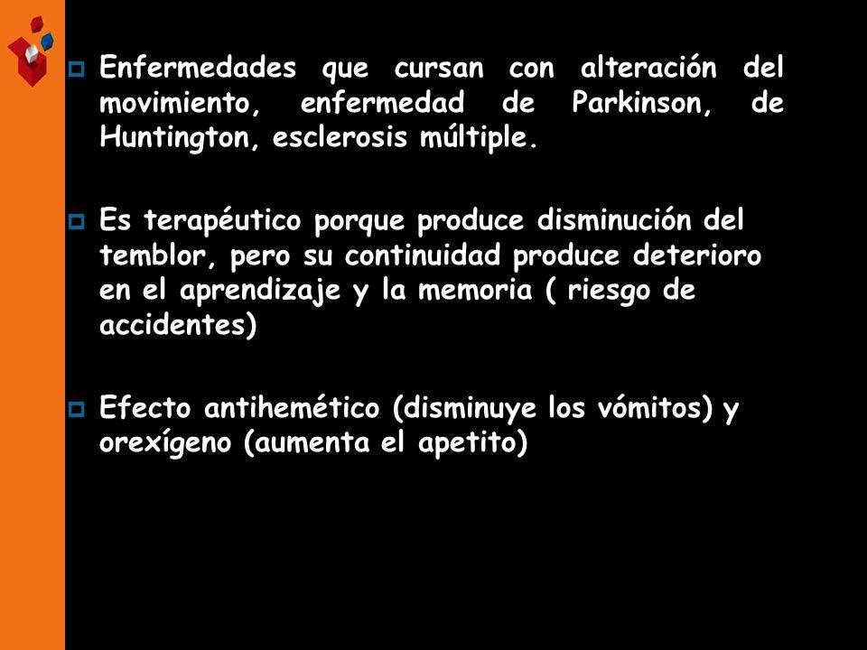Enfermedades que cursan con alteración del movimiento, enfermedad de Parkinson, de Huntington, esclerosis múltiple. Es terapéutico porque produce dism