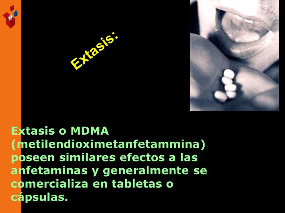 Extasis o MDMA (metilendioximetanfetammina) poseen similares efectos a las anfetaminas y generalmente se comercializa en tabletas o cápsulas. Extasis: