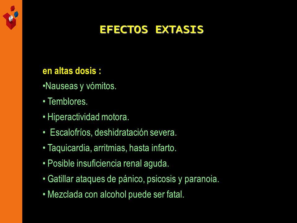 EFECTOS EXTASIS en altas dosis : Nauseas y vómitos. Temblores. Hiperactividad motora. Escalofríos, deshidratación severa. Taquicardia, arritmias, hast