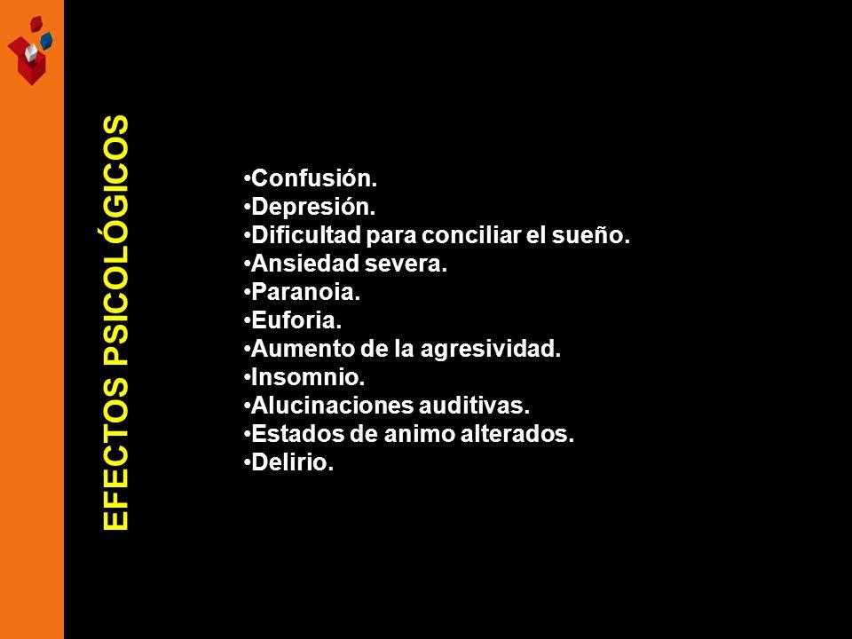 Confusión. Depresión. Dificultad para conciliar el sueño. Ansiedad severa. Paranoia. Euforia. Aumento de la agresividad. Insomnio. Alucinaciones audit