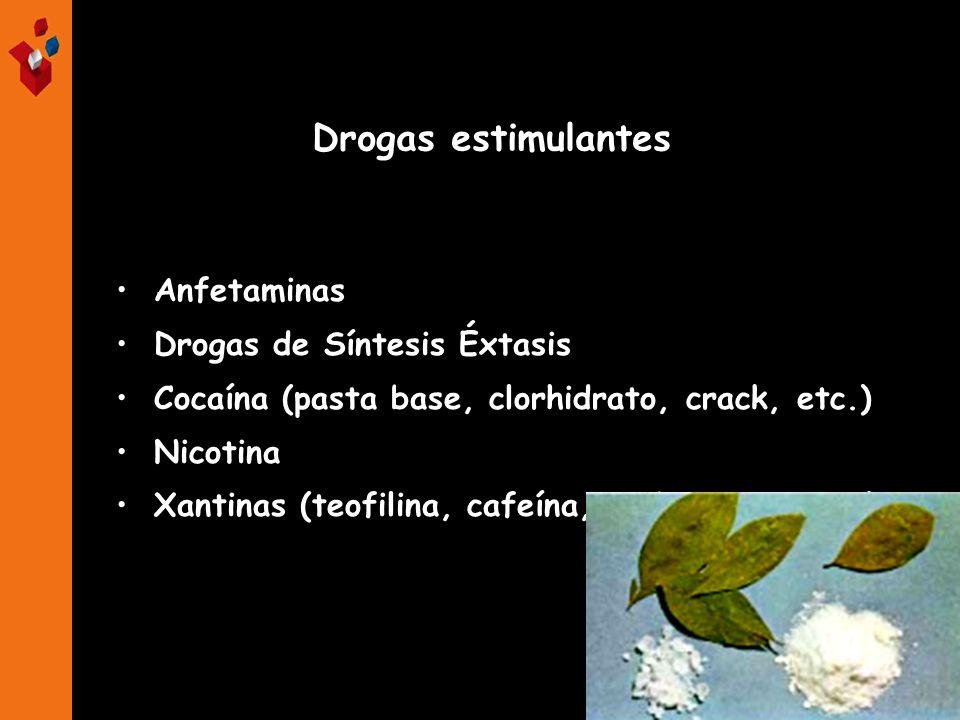 Anfetaminas Drogas de Síntesis Éxtasis Cocaína (pasta base, clorhidrato, crack, etc.) Nicotina Xantinas (teofilina, cafeína, teobromina, etc.) ESTIMUL