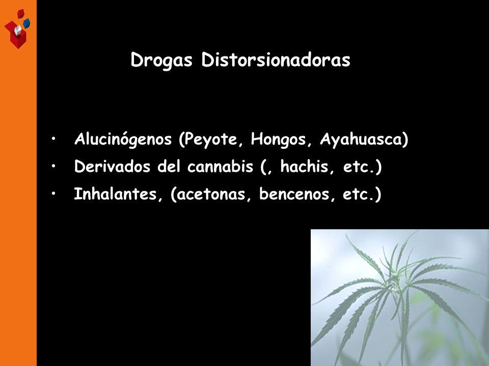 Alucinógenos (Peyote, Hongos, Ayahuasca) Derivados del cannabis (, hachis, etc.) Inhalantes, (acetonas, bencenos, etc.) Drogas Distorsionadoras