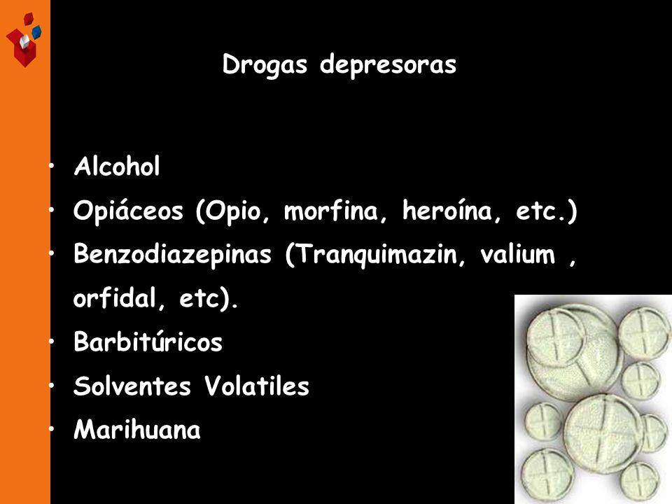 Alcohol Opiáceos (Opio, morfina, heroína, etc.) Benzodiazepinas (Tranquimazin, valium, orfidal, etc). Barbitúricos Solventes Volatiles Marihuana Droga
