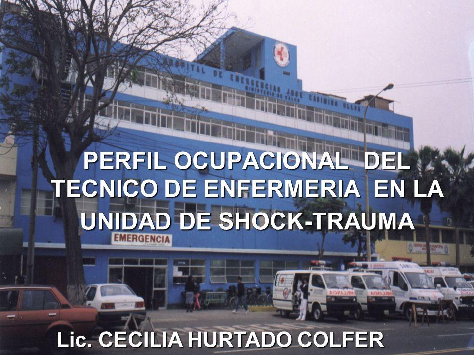 PERFIL OCUPACIONAL DEL TECNICO DE ENFERMERIA EN LA UNIDAD DE SHOCK-TRAUMA Lic. CECILIA HURTADO COLFER