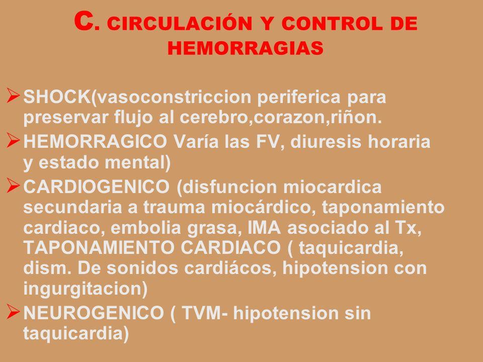 C. CIRCULACIÓN Y CONTROL DE HEMORRAGIAS SHOCK(vasoconstriccion periferica para preservar flujo al cerebro,corazon,riñon. HEMORRAGICO Varía las FV, diu