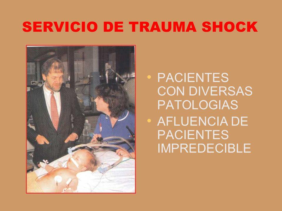 SERVICIO DE TRAUMA SHOCK PACIENTES CON DIVERSAS PATOLOGIAS AFLUENCIA DE PACIENTES IMPREDECIBLE