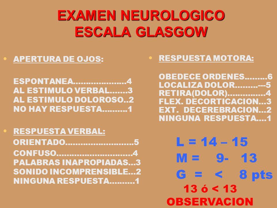EXAMEN NEUROLOGICO ESCALA GLASGOW RESPUESTA MOTORA: OBEDECE ORDENES.........6 LOCALIZA DOLOR.........---5 RETIRA(DOLOR)...............4 FLEX. DECORTIC
