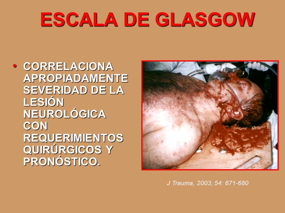 ESCALA DE GLASGOW CORRELACIONA APROPIADAMENTE SEVERIDAD DE LA LESIÓN NEUROLÓGICA CON REQUERIMIENTOS QUIRÚRGICOS Y PRONÓSTICO. CORRELACIONA APROPIADAME