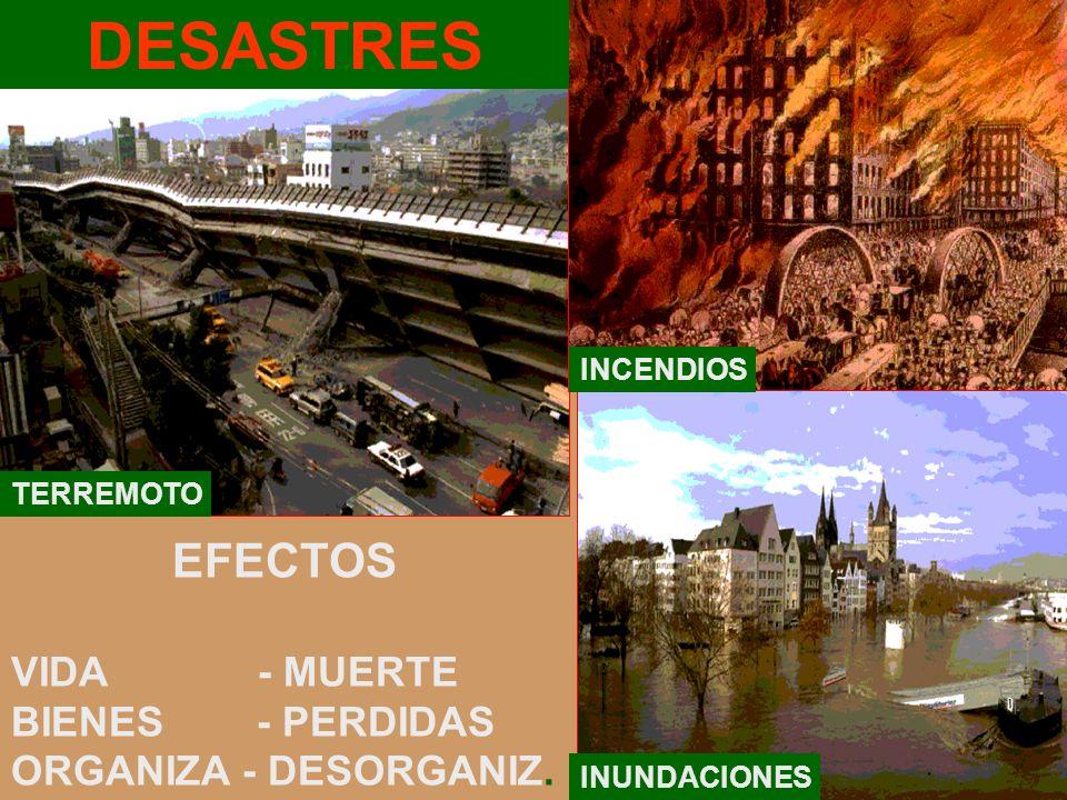 DESASTRES EFECTOS VIDA - MUERTE BIENES - PERDIDAS ORGANIZA - DESORGANIZ. TERREMOTO INCENDIOS INUNDACIONES