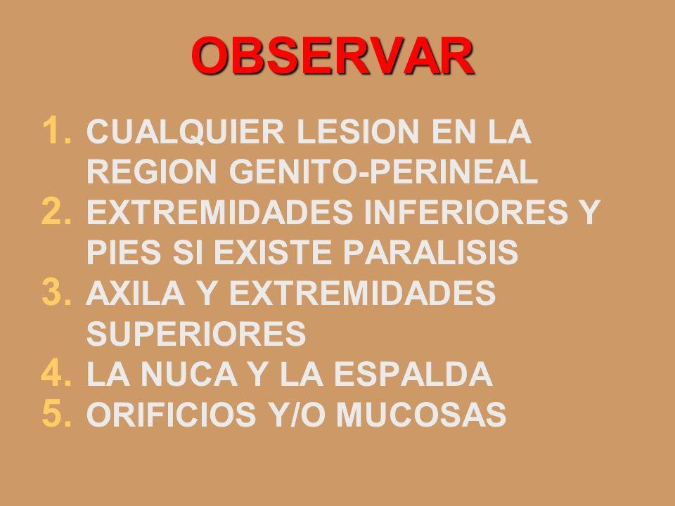 OBSERVAR 1. CUALQUIER LESION EN LA REGION GENITO-PERINEAL 2. EXTREMIDADES INFERIORES Y PIES SI EXISTE PARALISIS 3. AXILA Y EXTREMIDADES SUPERIORES 4.