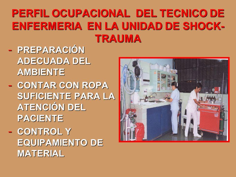PERFIL OCUPACIONAL DEL TECNICO DE ENFERMERIA EN LA UNIDAD DE SHOCK- TRAUMA - PREPARACIÓN ADECUADA DEL AMBIENTE - CONTAR CON ROPA SUFICIENTE PARA LA AT