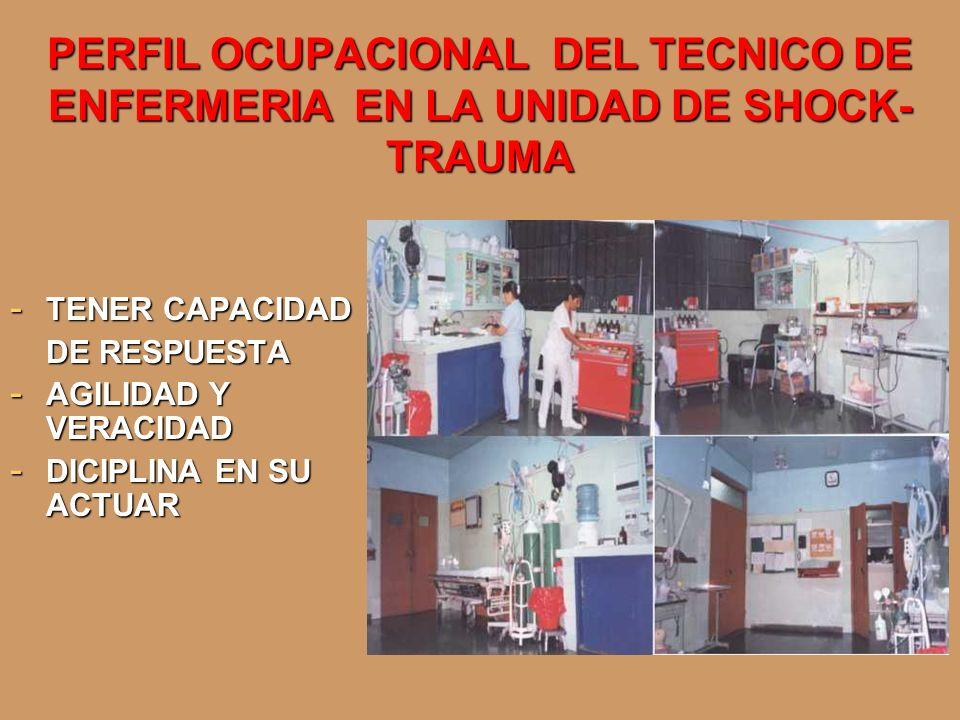 PERFIL OCUPACIONAL DEL TECNICO DE ENFERMERIA EN LA UNIDAD DE SHOCK- TRAUMA - TENER CAPACIDAD DE RESPUESTA - AGILIDAD Y VERACIDAD - DICIPLINA EN SU ACT