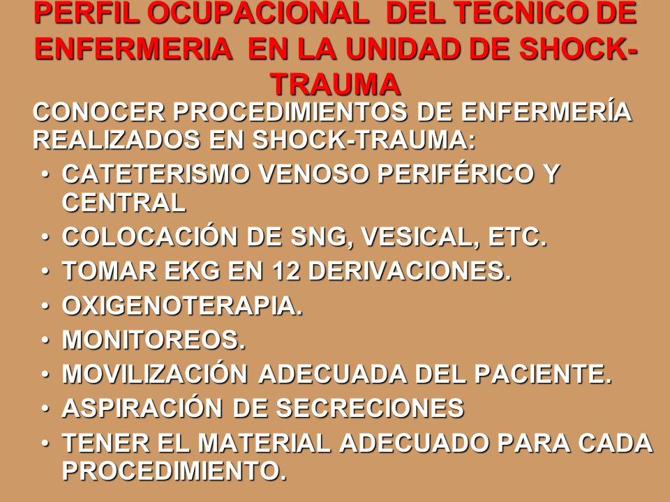 PERFIL OCUPACIONAL DEL TECNICO DE ENFERMERIA EN LA UNIDAD DE SHOCK- TRAUMA CONOCER PROCEDIMIENTOS DE ENFERMERÍA REALIZADOS EN SHOCK-TRAUMA: CATETERISM