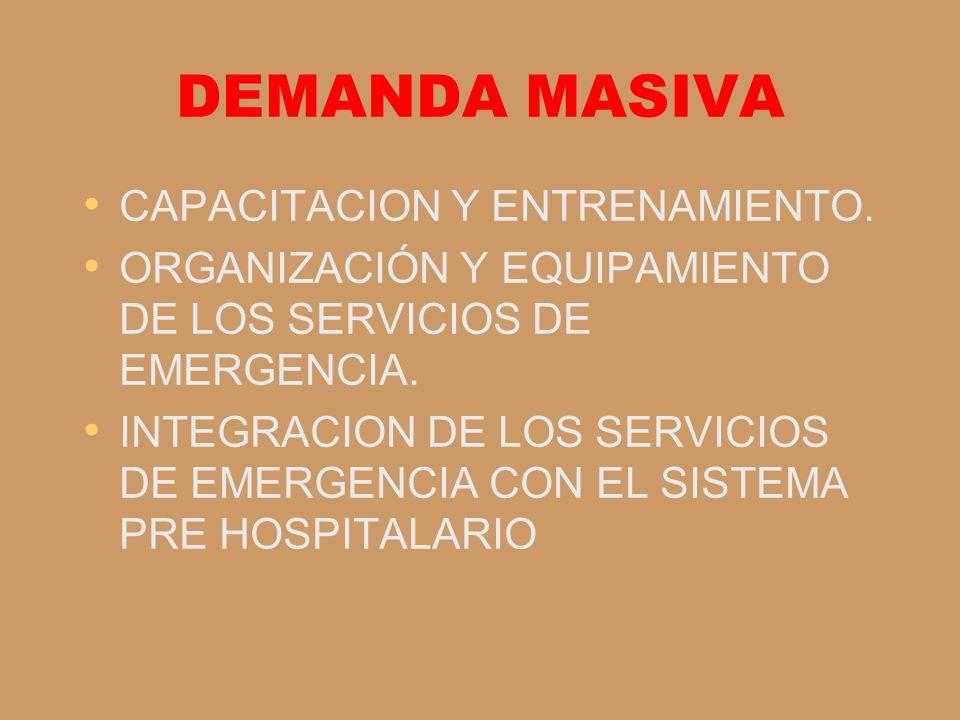 DEMANDA MASIVA CAPACITACION Y ENTRENAMIENTO. ORGANIZACIÓN Y EQUIPAMIENTO DE LOS SERVICIOS DE EMERGENCIA. INTEGRACION DE LOS SERVICIOS DE EMERGENCIA CO