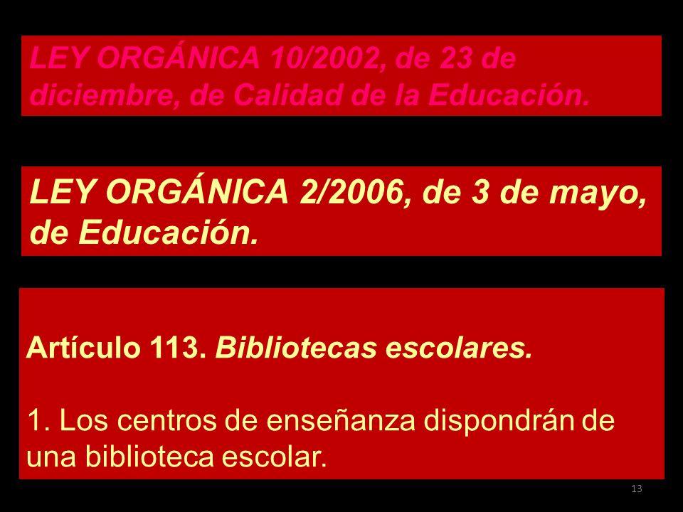 LEY ORGÁNICA 2/2006, de 3 de mayo, de Educación. Artículo 113. Bibliotecas escolares. 1. Los centros de enseñanza dispondrán de una biblioteca escolar