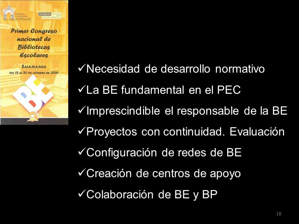 18 Necesidad de desarrollo normativo La BE fundamental en el PEC Imprescindible el responsable de la BE Proyectos con continuidad. Evaluación Configur