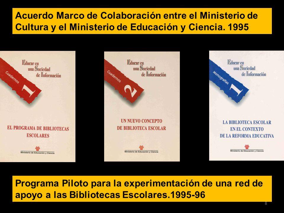 Acuerdo Marco de Colaboración entre el Ministerio de Cultura y el Ministerio de Educación y Ciencia. 1995 Programa Piloto para la experimentación de u