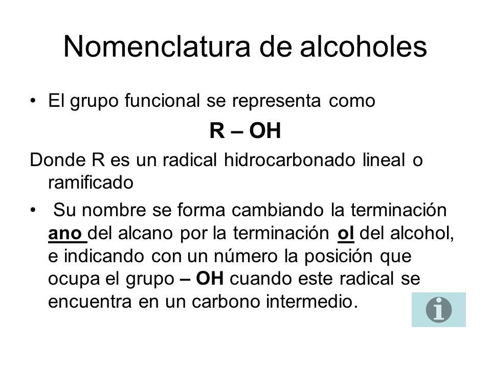 Nomenclatura de alcoholes El grupo funcional se representa como R – OH Donde R es un radical hidrocarbonado lineal o ramificado Su nombre se forma cam