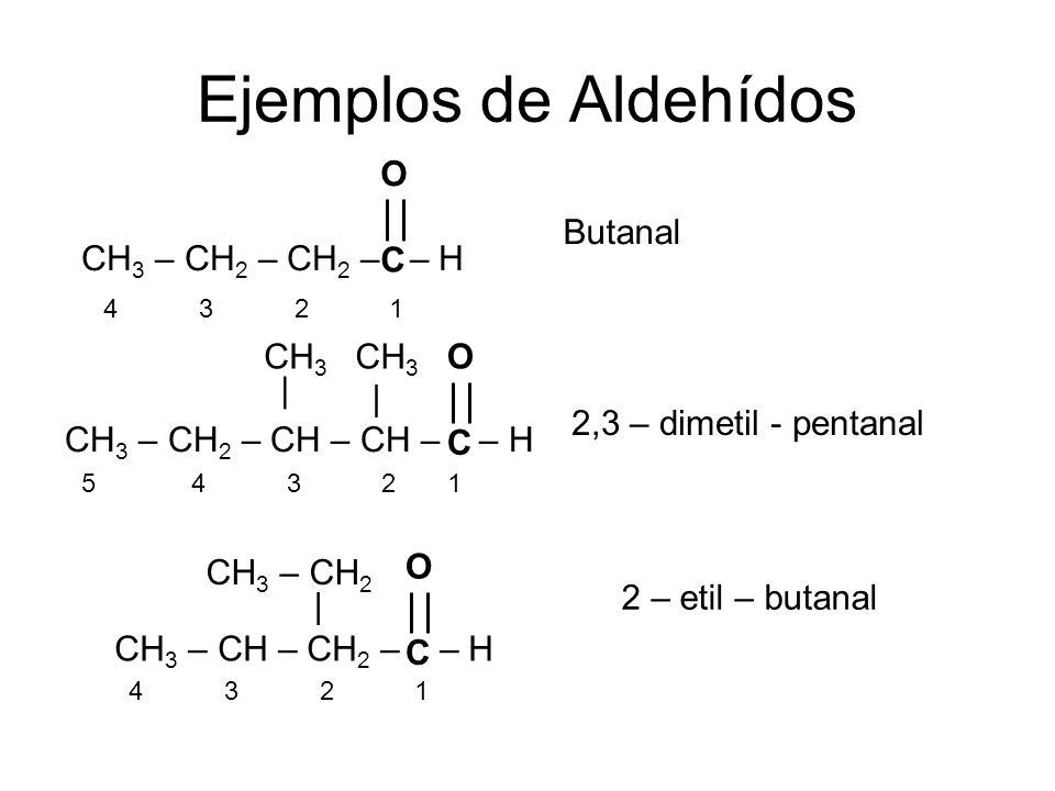 Ejemplos de Aldehídos CH 3 – CH 2 – CH 2 – – H 5 4 3 2 1 Butanal 2,3 – dimetil - pentanal CH 3 – CH 2 – CH – CH – – H | | CH 3 4 3 2 1 CH 3 – CH – CH