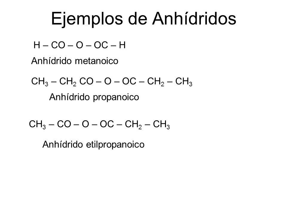 Ejemplos de Anhídridos H – CO – O – OC – H Anhídrido metanoico CH 3 – CH 2 CO – O – OC – CH 2 – CH 3 Anhídrido propanoico CH 3 – CO – O – OC – CH 2 –