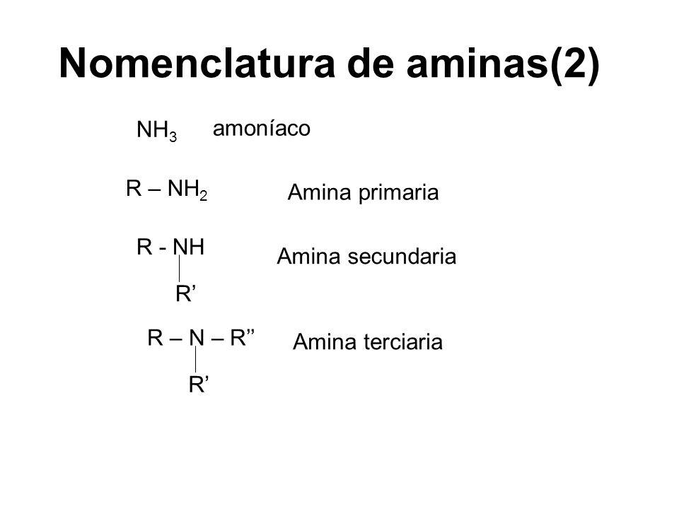 Nomenclatura de aminas(2) R – NH 2 Amina primaria NH 3 amoníaco R - NH R Amina secundaria R – N – R R Amina terciaria