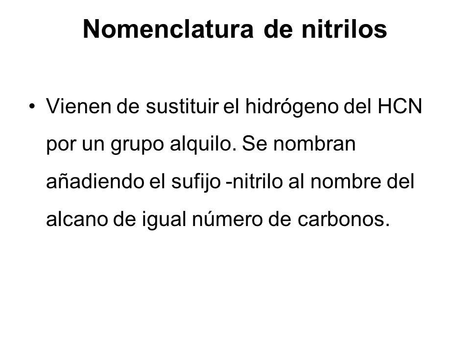 Nomenclatura de nitrilos Vienen de sustituir el hidrógeno del HCN por un grupo alquilo. Se nombran añadiendo el sufijo -nitrilo al nombre del alcano d
